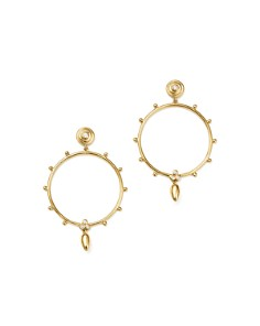 Temple St. Clair - 18K Yellow Gold Circle Anfora Diamond Earrings