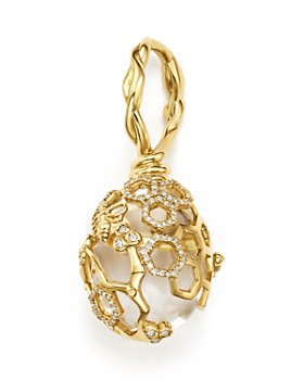 Temple St. Clair - 18K Yellow Gold Beehive Rock Crystal Amulet Pendant with Diamonds