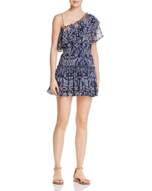 MISA Ezri Off-The-Shoulder Printed Mini Dress in Blue