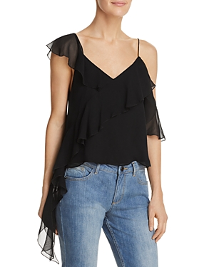 Alice And Olivia  ALICE + OLIVIA PAULINA ASYMMETRIC RUFFLED SILK TOP