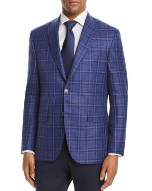 JACK VICTOR Plaid With Windowpane Regular Fit Sport Coat in Blue