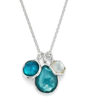 Sterling Silver Wonderland Mother-Of-Pearl & Clear Quartz Doublet Triple Charm Necklace In Bermuda, , Silver/Blue