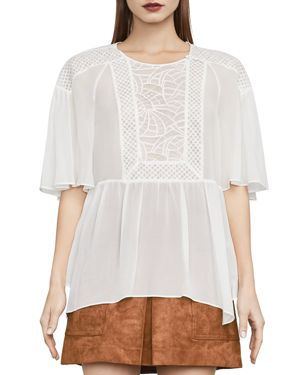 Jan Lace-Inset Peplum Top, Off White