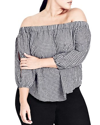 City Chic Plus - Gingham Off-the-Shoulder Top