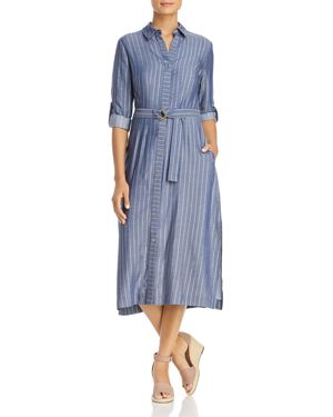 T Tahari Millie Metallic Pinstripe Shirt Dress