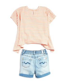 7 For All Mankind - Girls' Ribbed Striped Flowy Tee & Denim Shorts Set - Baby