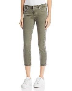 PAIGE - Skyline Skinny Crop Jeans in Faded Laurel Green