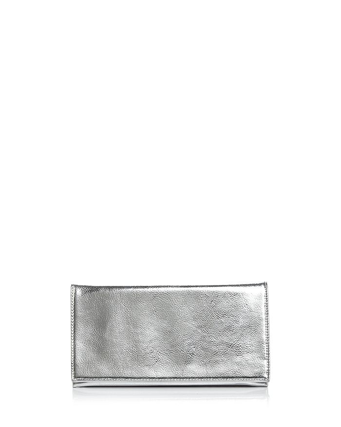 Aqua Metallic Foldover Clutch - 100% Exclusive In Silver/silver