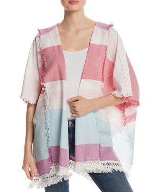 FRAAS Hooded Beach Stripe Ruana in Pink/Multi