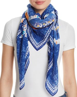 FRAAS FLORAL MEDALLION PRINT SQUARE SCARF