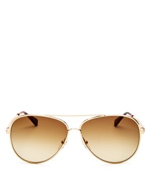 61MM GRADIENT LENS AVIATOR SUNGLASSES - GOLD/ BOURBON