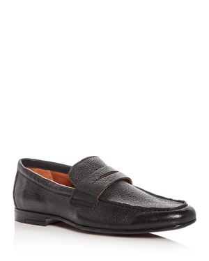 GORDON RUSH Men'S Connery Leather Moc Toe Penny Loafers in Black Leather
