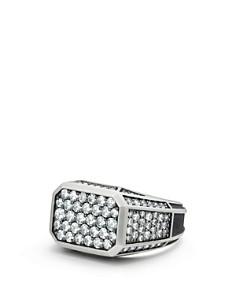 David Yurman - Exotic Stone Streamline Pavé Signet Ring with Gray Sapphire
