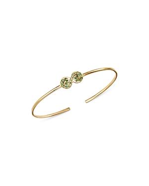SheBee 14K Yellow Gold Tsavorite & Green Sapphire Figure 8 Cuff Bracelet