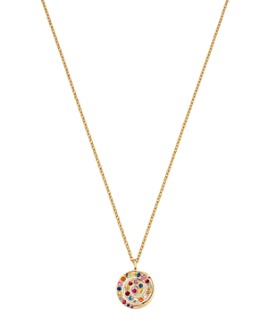 """SheBee - 14K Yellow Gold Multicolor Sapphire Spiral Pendant Necklace, 16"""""""