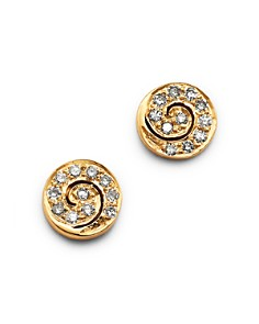 SheBee - 14K Yellow Gold Diamond Spiral Mini Stud Earrings