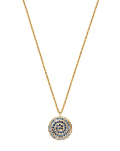 """SheBee - 14K Yellow Gold Multicolor Sapphire Spiral Pendant Necklace, 20"""""""