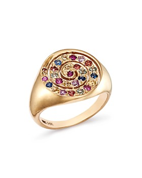 SheBee - 18K Yellow Gold Multicolor Sapphire Spiral Signet Ring
