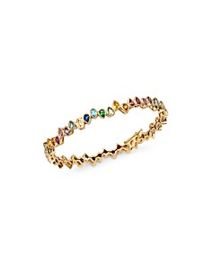 SheBee - 14K Yellow Gold Multicolor Sapphire Teardrop Bangle Bracelet