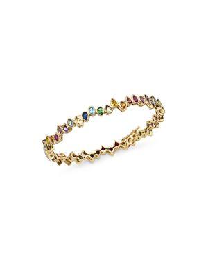 SHEBEE Shebee 14K Yellow Gold Multicolor Sapphire Teardrop Bangle Bracelet in Multi/Gold