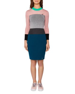 $Ted Baker Colour by Numbers Reii Color-Block Knit Dress - Bloomingdale's