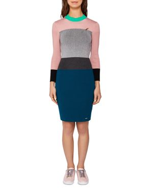COLOUR BY NUMBERS REII COLOR-BLOCK KNIT DRESS