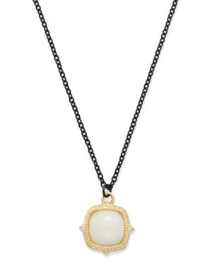 ARMENTA 18K YELLOW GOLD & BLACKENED STERLING SILVER OLD WORLD POTCH OPAL PENDANT NECKLACE, 16