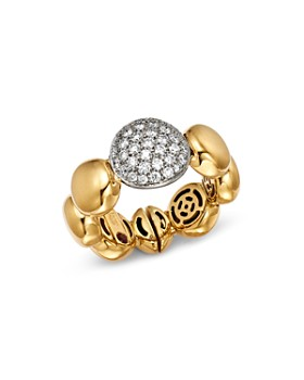 Roberto Coin - 18K White & Yellow Gold Pavé Diamond Disc Ring