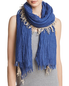 Gaynor - Fringed Plissé Oblong Scarf - 100% Exclusive
