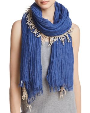 GAYNOR Fringed Plisse Oblong Scarf - 100% Exclusive in Blue