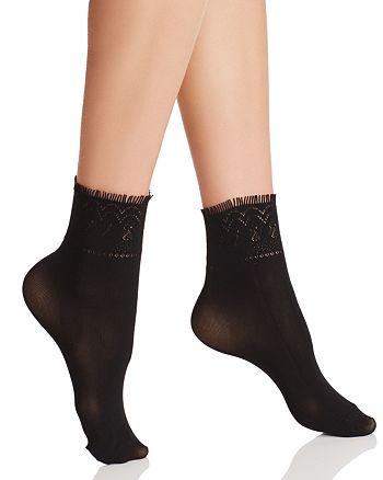 HUE - Fringe Cuff Ankle Socks