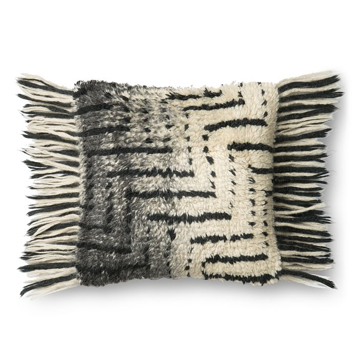 "Loloi - Black Ivory Decorative Pillow, 18"" x 18"""