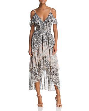 MISA Idalia Floral-Print Ruffle High-Low Dress in Multi