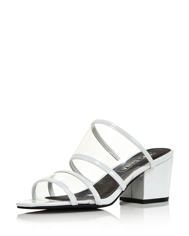 Sol Sana Women's Ziggy Leather Illusion Block Heel Slide Sandals - 100% Exclusive