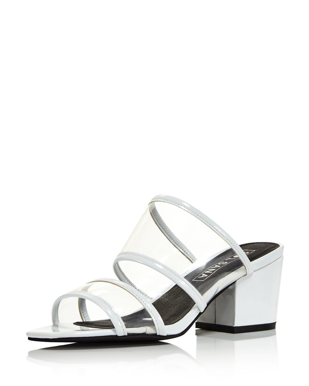 Sol Sana Women's Ziggy Leather Illusion Block Heel Slide Sandals - 100% Exclusive B5NjQo