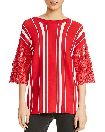 678910bd59 Maje Molina Striped Lace-Trim Sweater