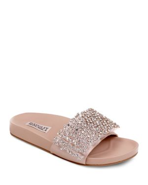 HORTON EMBELLISHED SATIN SLIDE SANDALS