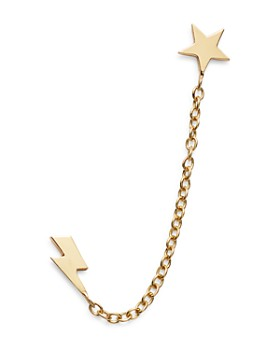 Zoë Chicco - 14K Yellow Gold Itty Bitty Star & Lightning Bolt Double Piercing Earring