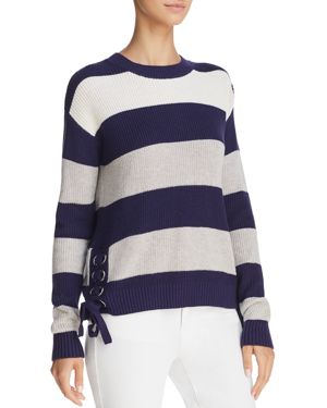 MINNIE ROSE LACE-UP STRIPED SWEATER