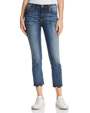 AQUA - Cropped Scallop-Hem Jeans in Indigo - 100% Exclusive
