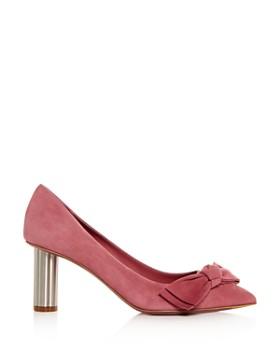 Salvatore Ferragamo - Women's Garlate Suede Pointed Toe Floral Heel Pumps