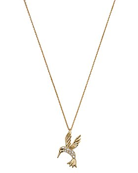 Bloomingdale's - Diamond Hummingbird Pendant Necklace in 14K Yellow Gold, .09 ct. t.w. - 100% Exclusive
