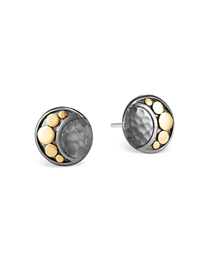 John Hardy Sterling Silver & 18K Bonded Gold Dot Hammered Moon Stud Earrings
