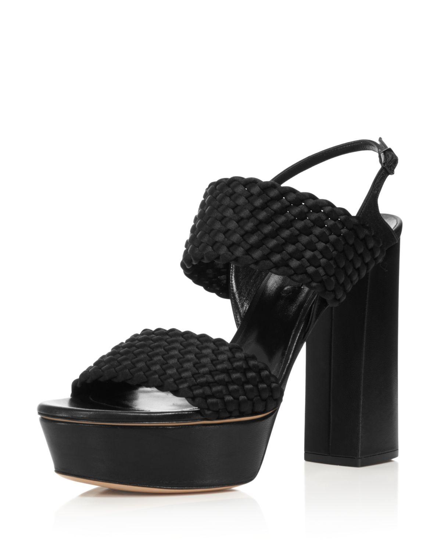 Casadei Women's Tresse Woven Satin Platform High-Heel Sandals