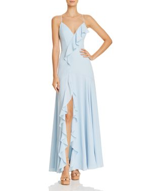 FAME AND PARTNERS CALLAIS RUFFLE-TRIMMED GOWN