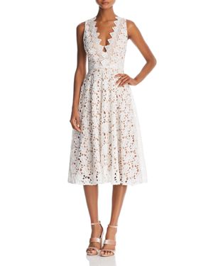 SAU LEE Ashley Lace Open-Back Dress in White