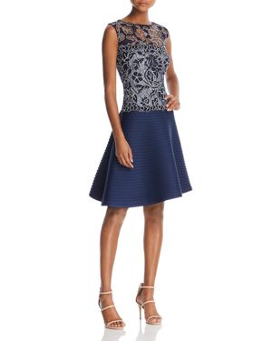SLEEVELESS LACE FIT-AND-FLARE DRESS