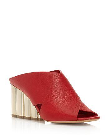 Salvatore Ferragamo - Women's Lasa Leather Crisscross Floral Wedge Slide Sandals