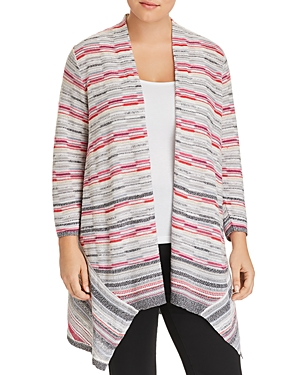 Nic and Zoe Plus Marled-Stripe Open Cardigan