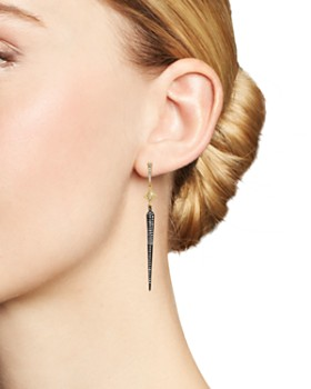 Armenta - Blackened Sterling Silver & 18K Yellow Gold Old World Long Crivelli Pavé Champagne Diamond Spike Earrings